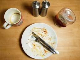Chicken or Fish; empty plate after meal